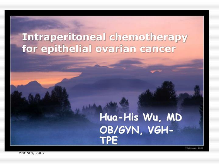 intraperitoneal chemotherapy for epithelial ovarian cancer n.