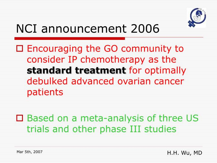 NCI announcement 2006