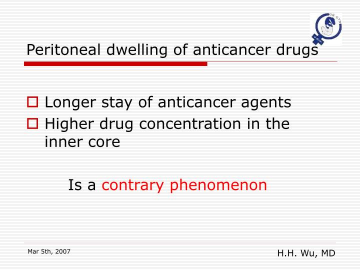 Peritoneal dwelling of anticancer drugs
