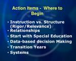 action items where to begin