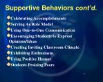 supportive behaviors cont d