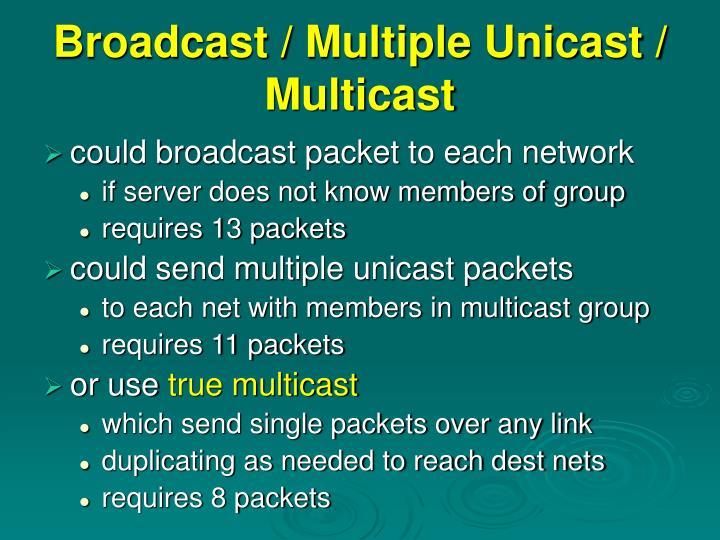 Broadcast / Multiple Unicast / Multicast