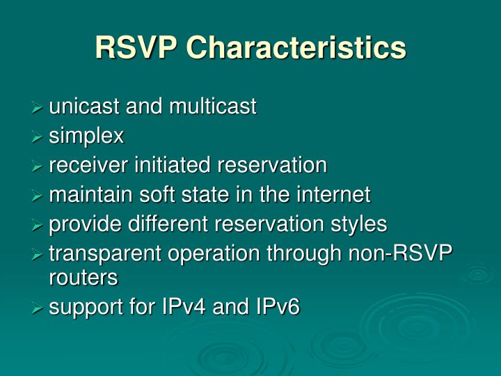 RSVP Characteristics