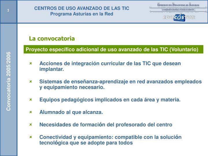 Acciones de integración curricular de las TIC que desean implantar.