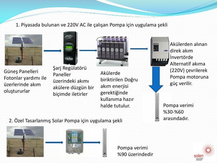 1. Piyasada bulunan ve 220V AC ile çalışan Pompa için uygulama şekli
