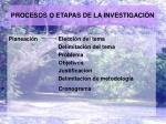 procesos o etapas de la investigaci n
