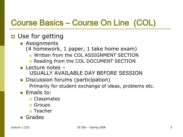 Course Basics – Course On Line  (COL)