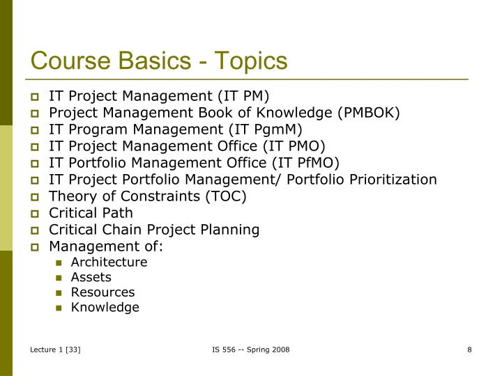 Course Basics - Topics