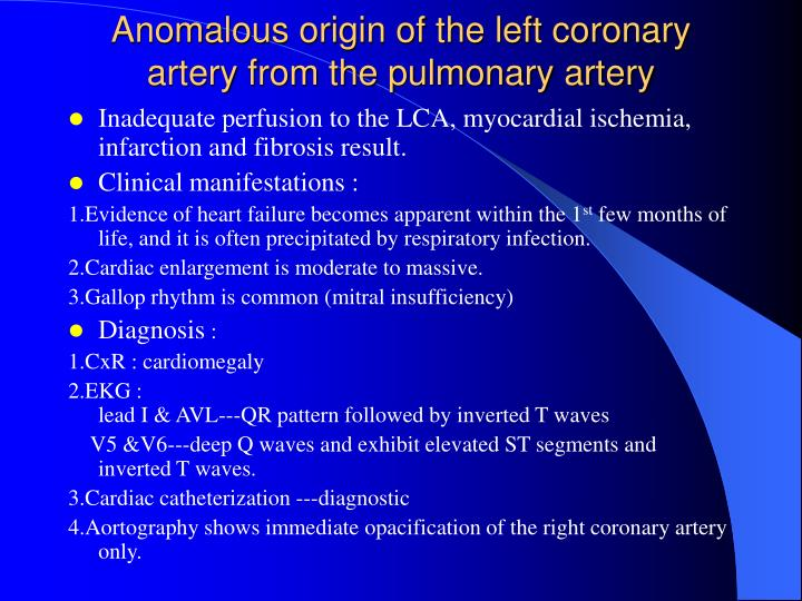 Anomalous origin of the left coronary artery from the pulmonary artery