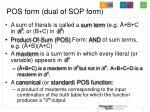 pos form dual of sop form