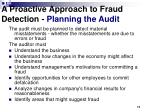a proactive approach to fraud detection planning the audit