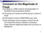 comment on the magnitude of fraud