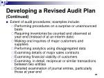 developing a revised audit plan continued