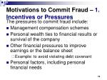 motivations to commit fraud 1 incentives or pressures