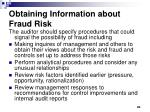 obtaining information about fraud risk