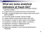 what are some analytical indicators of fraud risk