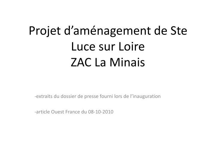 Projet d'aménagement de Ste Luce sur Loire