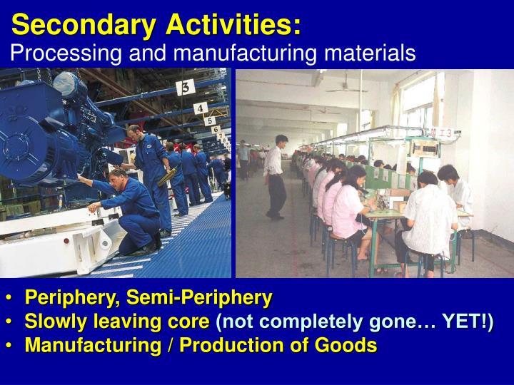Secondary Activities: