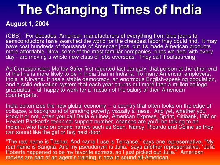 The Changing Times of India
