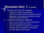 discussion item 7 continued