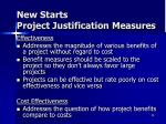 new starts project justification measures1