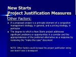 new starts project justification measures8