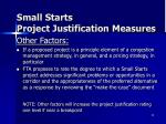 small starts project justification measures4
