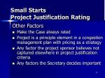 small starts project justification rating4