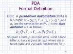 pda formal definition