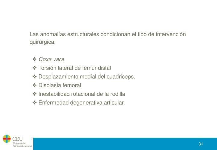 Las anomalías estructurales condicionan el tipo de intervención quirúrgica.