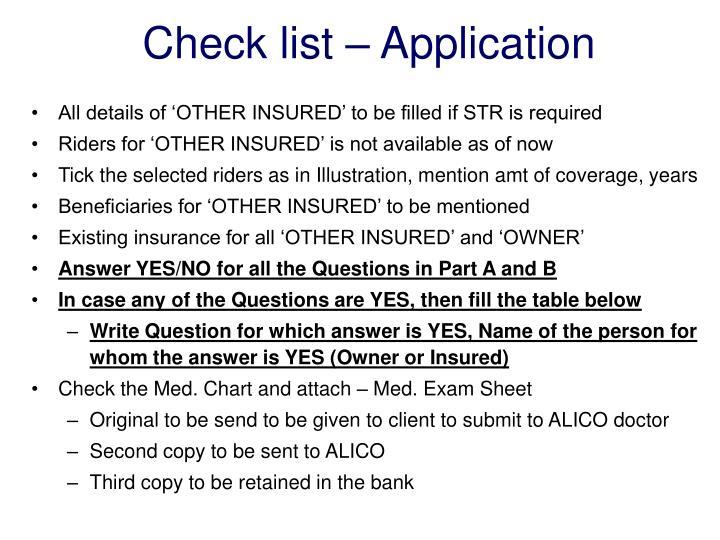 Check list – Application