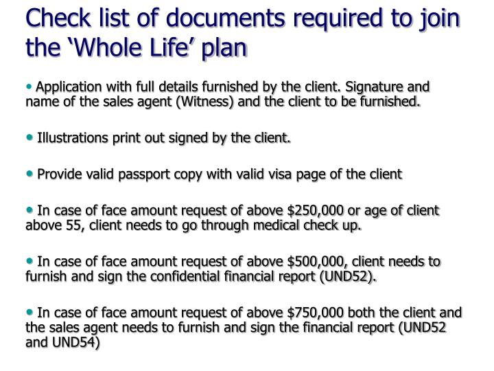Check list of documents required to join the 'Whole Life' plan
