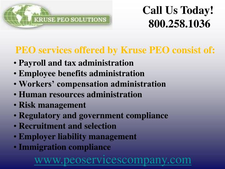 Peo services offered by kruse peo consist of
