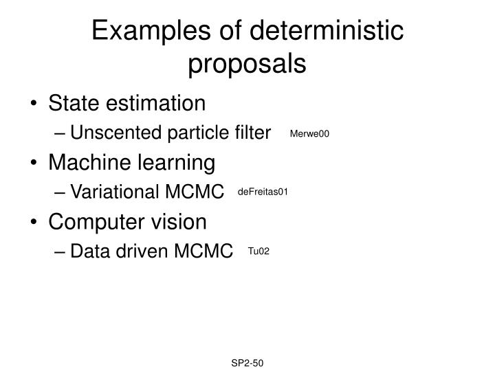 Examples of deterministic proposals