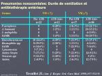 pneumonies nosocomiales dur e de ventilation et antibioth rapie ant rieure