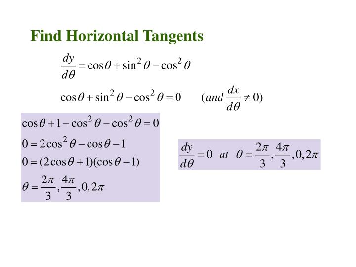 Find Horizontal Tangents