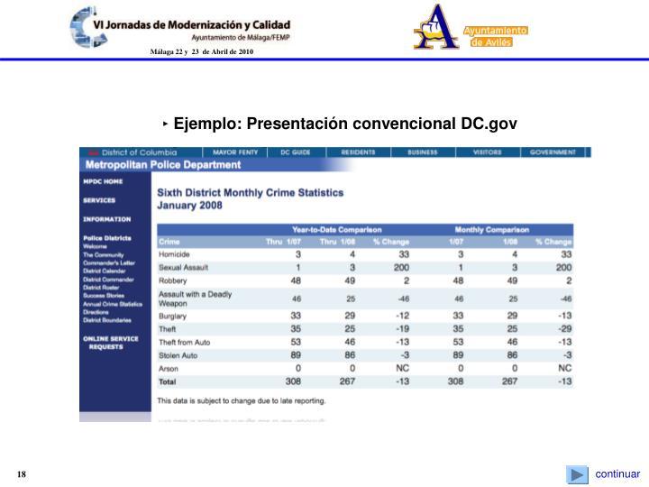 ‣ Ejemplo: Presentación convencional DC.gov