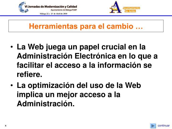 La Web juega un papel crucial en la Administración Electrónica en lo que a facilitar el acceso a la información se refiere.