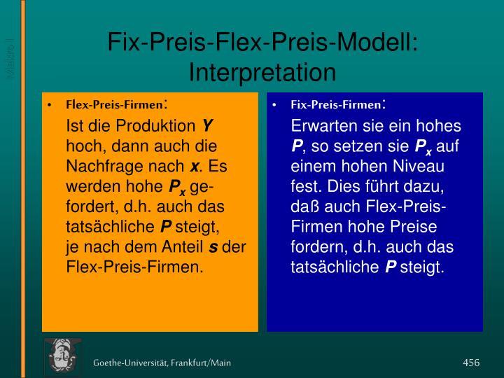 Fix preis flex preis modell interpretation