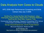 data analysis from cores to clouds