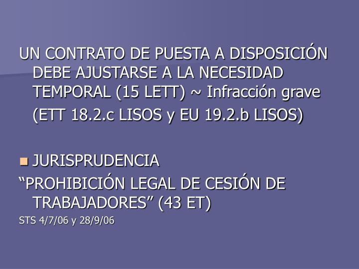 UN CONTRATO DE PUESTA A DISPOSICIÓN DEBE AJUSTARSE A LA NECESIDAD TEMPORAL (15 LETT)
