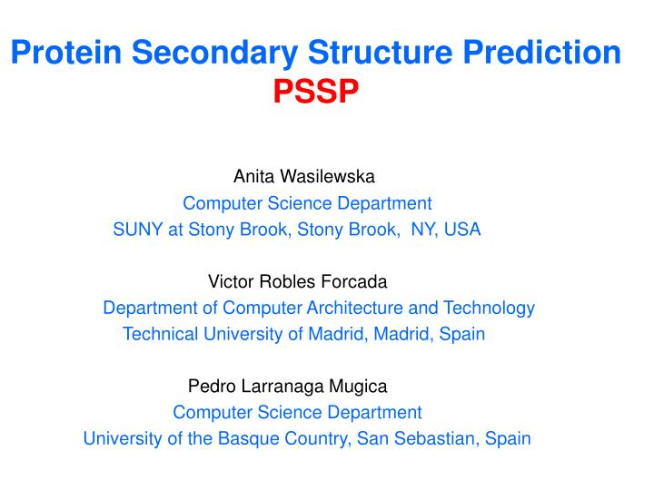protein secondary structure prediction pssp n.