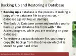 backing up and restoring a database