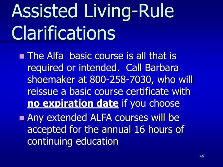 Assisted Living-Rule Clarifications