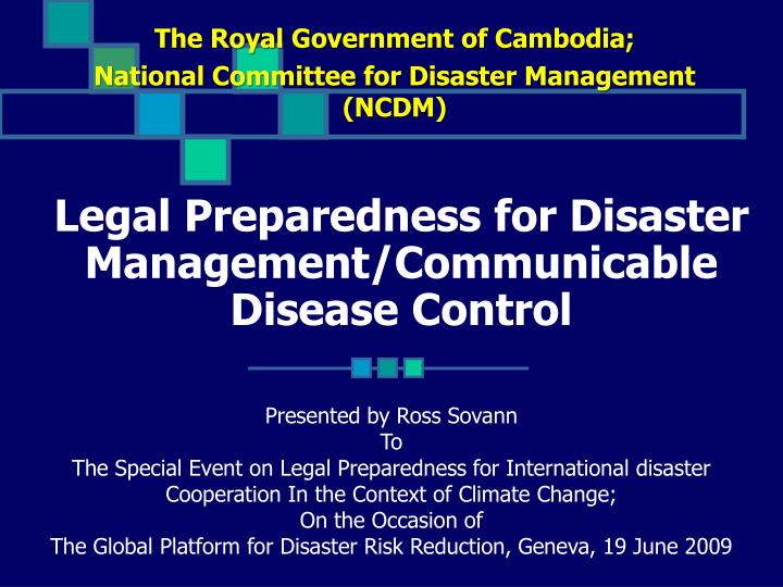 legal preparedness for disaster management communicable disease control n.