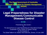 legal preparedness for disaster management communicable disease control