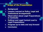 scope of the presentation