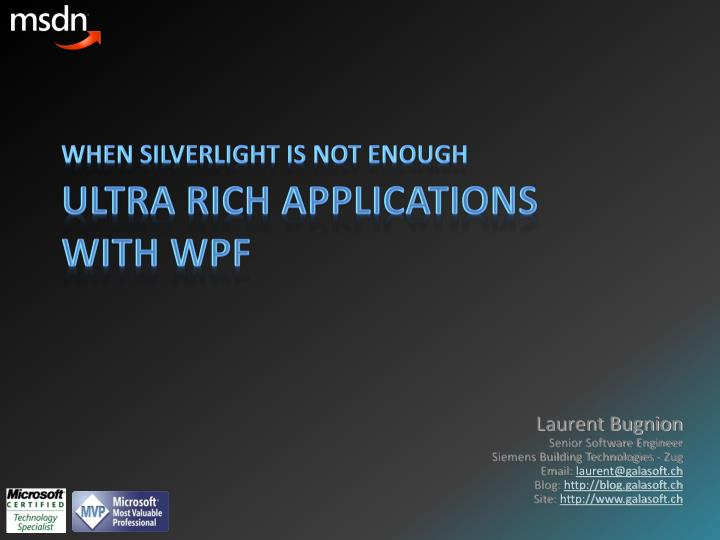 ultra rich applications with wpf n.