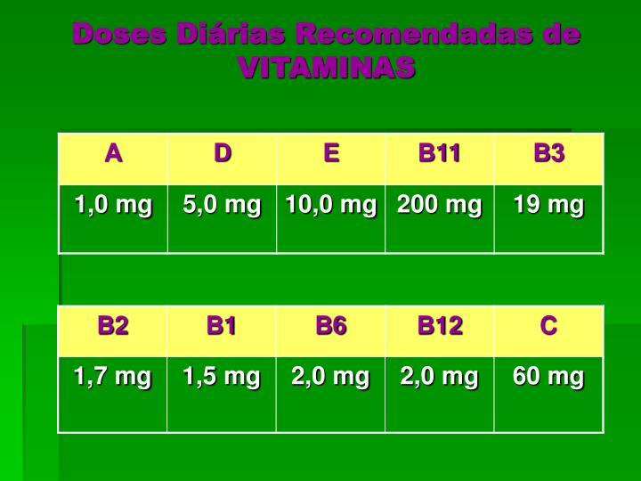 Doses Diárias Recomendadas de VITAMINAS