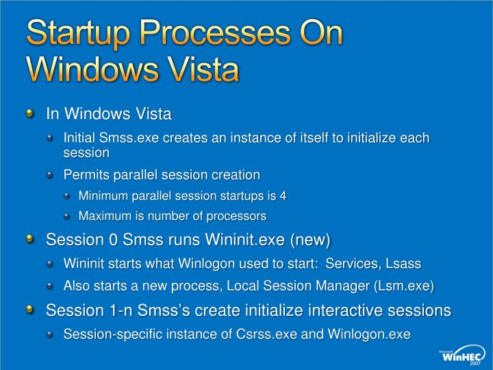 Startup Processes On Windows Vista